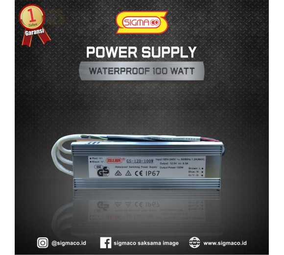 Power Supply Waterproof 12V 100W 8.3A