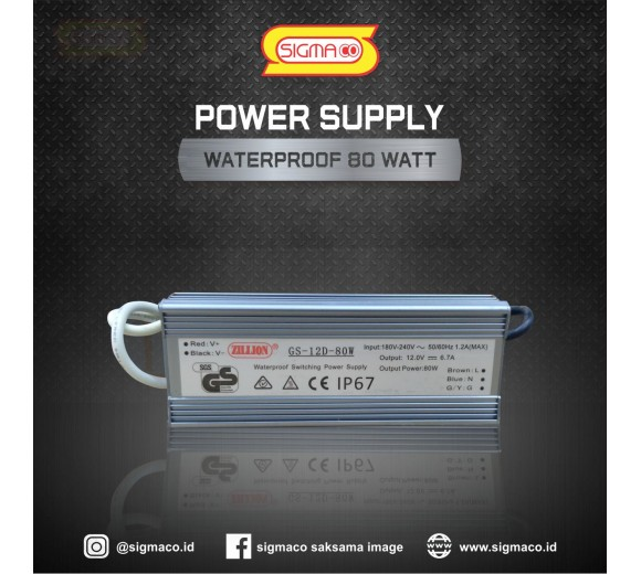 Power Supply Waterproof 12V 80W 6.6A